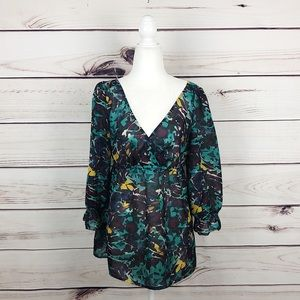 LOFT   watercolor tunic blouse women's size M